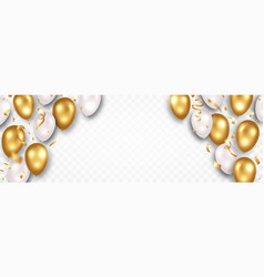 golden and white flying balloons with sparkles vector image