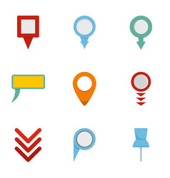 Gps pointer icons set flat style vector