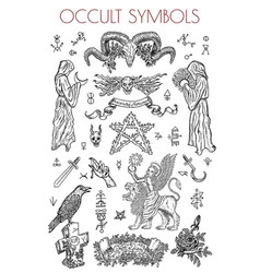 Graphic set with occult symbols vector