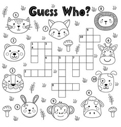 guess who black and white crossword for kids vector image