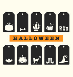 halloween gift tags templates set vector image
