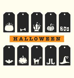 Halloween gift tags templates set vector