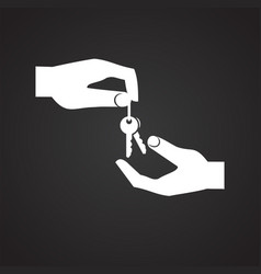 Hand giving a property key on black background vector