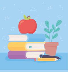 happy teachers day apple on books pen pencil vector image