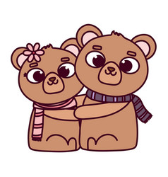 happy valentines day cute couple bear with vector image