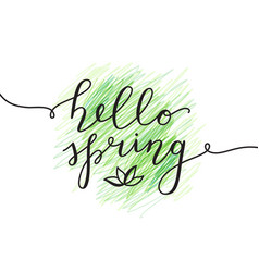 hello spring lettering vector image
