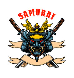helmet samurai warrior with crossed katanas vector image