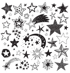 holiday set of hand drawn stars festive vector image