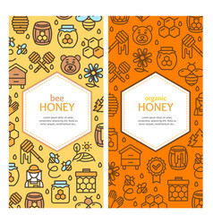 Honey signs banner vertical card set vector