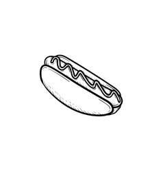 Hotdog hand drawn sketch icon vector