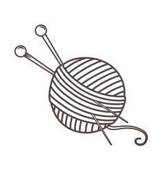 Isolated yarn ball and needles design vector