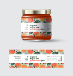 Jam persimmon label and packaging jar with cap vector