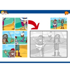 Jigsaw puzzle task with pirates vector