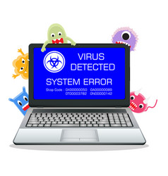 laptop error screen with cartoon virus vector image