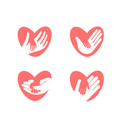 little hand in big hand in heart silhouette vector image