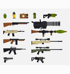 modern battle weapons set military weapons vector image