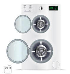 Modern open double silver washing machine vector
