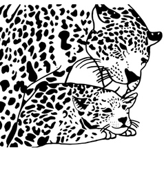 Mother and child leopard vector