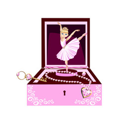 Music box for jewelry with a ballerina vector