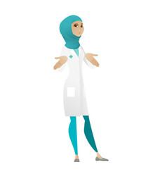 muslim confused doctor shrugging shoulders vector image
