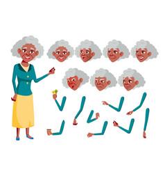 old woman black afro american senior vector image