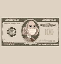 one hundred dollars bill with benjamin franklin vector image