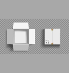 open and closed cardboard boxes mock up vector image