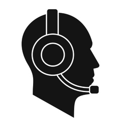 Operator in headset icon simple style vector image