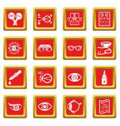 ophthalmologist icons set red square vector image