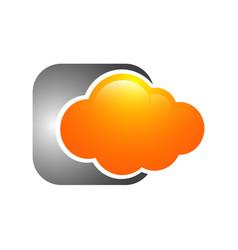 Orange cloud technology logo template design vector