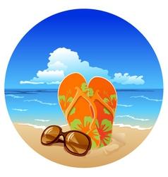 Pair flip flops and sunglasses on beach vector