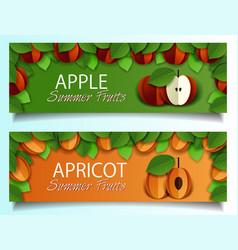 paper cut apple apricot fruit banner set vector image