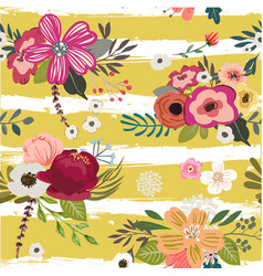 Pattern with doodle flowers vector