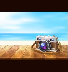 Photo camera wood walkway seaside coastline vector