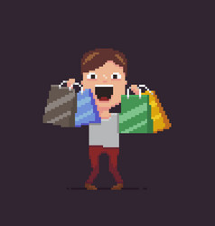 Pixel art shopaholic vector