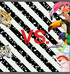 Print pattern panther vs tropical birds wallpaper vector