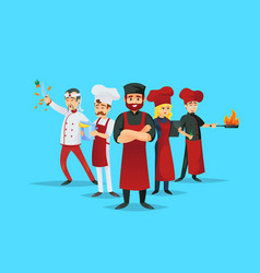 Professional chef teaching concept with cooks vector