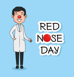 red nose day funny doctor with red nose vector image