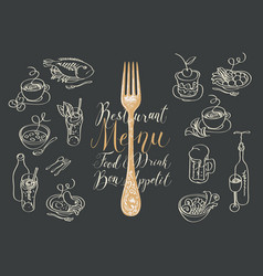 restaurant menu with fork and sketches dishes vector image