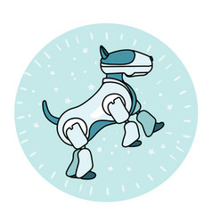 robot dog is standing on its hind legs vector image