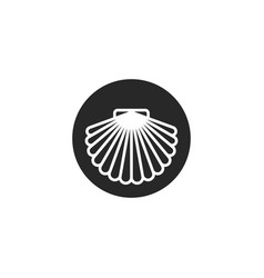 scallop shell logo round shape shellfish vector image