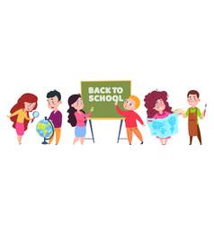 school kids students cartoon character vector image