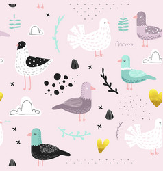 Seamless pattern with cute doves hand drawn vector