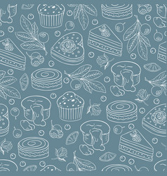 seamless pattern with different kind of cakes 05 vector image
