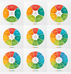 Set 4-12 circle chart infographic templates vector