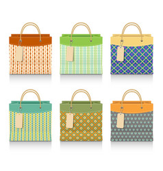 set colorful shopping bags vector image