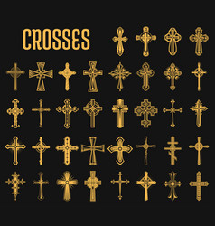 set isolated crosses christian religion vector image