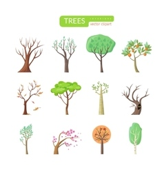 Set of Isolated Trees Design Flat vector