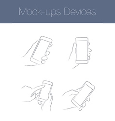 Set of simple mock-ups mobile devices vector
