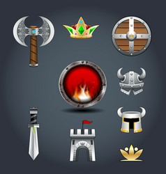 set of warriors game icons axe crown shield helm vector image